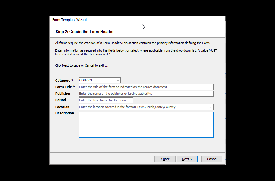 Using a Form creation wizard  - Step 2